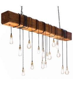 Wood Lamp Wooden Log Suspended 4ft Log + 7 Rope KI-D1201